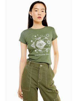 tall-khaki-wayward-one-motif-t-shirt by topshop