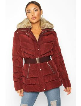 belted-faux-fur-trim-puffer-jacket by boohoo
