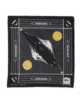 Fastcolor Selvedge Bandana  Mirror Fuji Smile   Black by Kapital