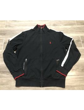 ralph-lauren-polo-mens-light-weight-jacket-full-zip-size-black-white-red-logo by ralph-lauren