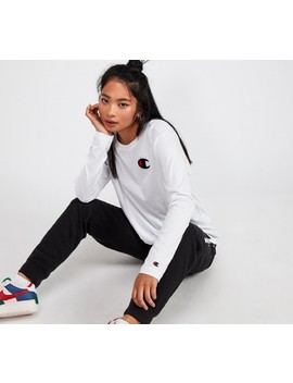 womens-rochester-long-sleeve-logo-t-shirt-|-white by champion