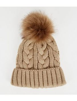 camel-cable-knit-faux-fur-bobble-hat by new-look