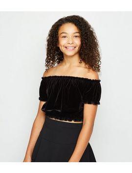girls-black-velvet-bardot-top by new-look