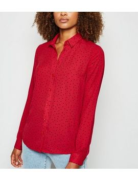 tall-red-spot-long-sleeve-shirt by new-look