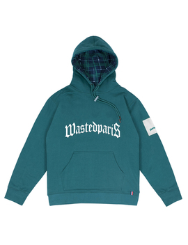 Hoodie Bridge Tartan Green Emerald 450 Premium by Wasted