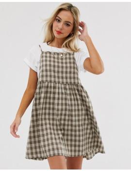 daisy-street---robe-fluide-chasuble-courte-à-carreaux-avec-jupe-plissée by daisy-street