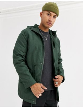 asos-design-parka-jacket-in-bottle-green-with-fleece-lining by asos-design