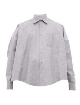 cotton-twill-poncho-shirt by bless