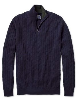 Navy Zip Neck Lambswool Cable Knit Jumper by Charles Tyrwhitt