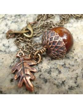 acorn-necklace-rustic-acorn-necklace-acorn-jewelry-copper-acorn-with-leaf---oak-leaf-brass-chain by etsy