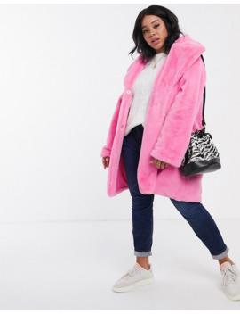 daisy-street-plus-oversized-coat-in-faux-fur by daisy-street