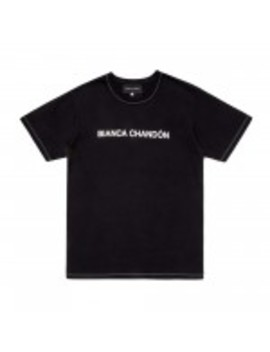 bianca-chandon-contrast-stitch-logotype-t-shirt-(black) by dover-street-market