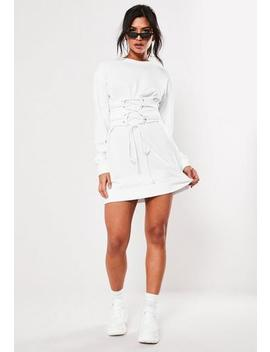 white-corset-waist-sweater-dress by missguided