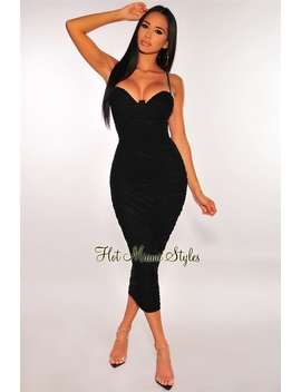 Black Bustier Ruched Midi Dress by Hot Miami Style