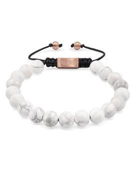 matte-howlite-bead-bracelet by rosegold-&-black