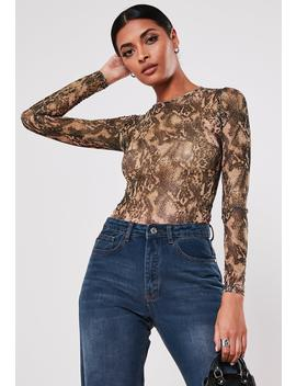 brown-snake-print-mesh-bodysuit by missguided