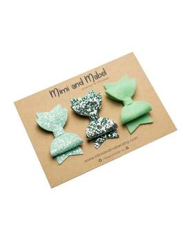 mint-small-dolly-bow-set---available-as-clips-or-headbands by etsy