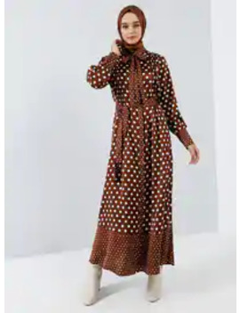 cinnamon---polka-dot---crew-neck---unlined---dress by modanisa