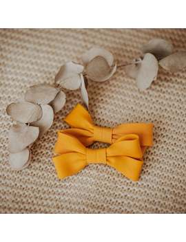 yellow-hair-bows--for-girls,-cotton-fabric-hair-clips,-pigtail-hair-bows,-summer-small-hair-clip,-set-of-2,-boho-style-hair-bows by etsy