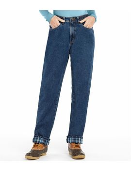 double-l-jeans,-relaxed-comfort-waist-flannel-lined by llbean