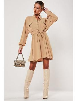 tan-utility-skater-shirt-dress by missguided