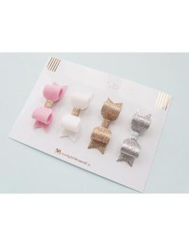 girl_baby-fine-glitter-fabric-and-wool-felt-mini-hair-bow-clip-set-gold,-silver,-white-and-pink-100%-wool-felt by etsy