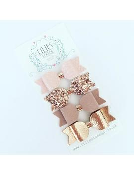rose-gold-bows,-small-hair-clips,-mini-hair-slides,-sparkly-hair-bows,-glitter-hair-clips,-ponytail-bows,-leatherette-headband,-pretty-bows by etsy