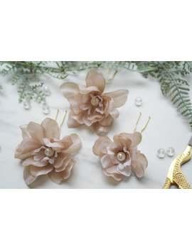 beige-silk-flowers,-flower-hair-comb,-flower-hair-pin,-wedding-hair-pin,-bridesmaid-hair-pin,-flower-hair-vine,-floral-clip by etsy