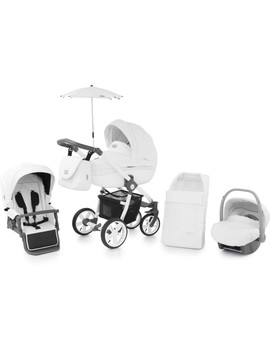 Baby Style Prestige 2 White Active Swivel Pram Grey Handle Travel System (Blizzard) by Precious Little One