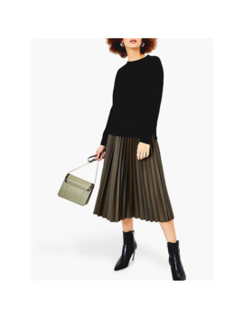 oasis-faux-leather-pleated-skirt,-khaki by oasis
