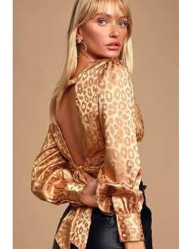 humble-brag-tan-satin-leopard-print-tie-back-crop-top by joa
