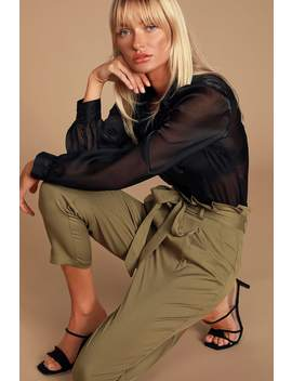 with-confidence-olive-green-paper-bag-waist-pants by lulus