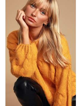 cozy-lover-marigold-yellow-cable-knit-turtleneck-sweater by joa