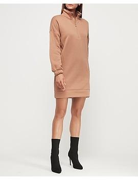 sherpa-lined-mock-neck-sweatshirt-dress by express