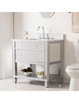 """mirage-33""""-mirrored-and-silver-1-drawer-single-sink-vanity by lamps-plus"""