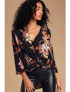 making-a-difference-black-floral-print-button-up-top by lulus