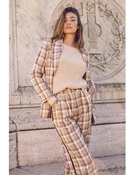 poise-tan-plaid-belted-blazer by honey-punch