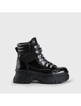 Fendo Lace Up Boot Smooth Leather Look Black by Buffalo