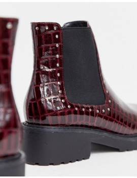 london-rebel-wide-fit-chunky-flat-chelsea-boots-in-burgundy-croc by asos