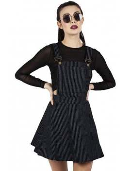Over It All Pinstripe Overall Dress by Jawbreaker Clothing