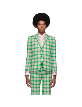 green-&-pink-flannel-check-blazer by thom-browne