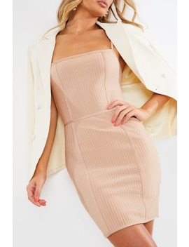 meggan-grubb-mocha-premium-bandage-mini-dress by in-the-style