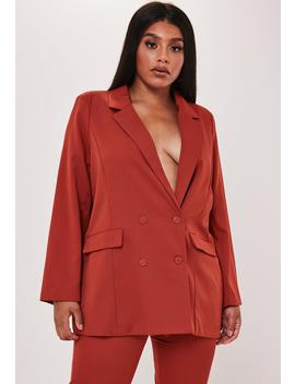 plus-size-red-co-ord-oversized-double-button-blazer by missguided