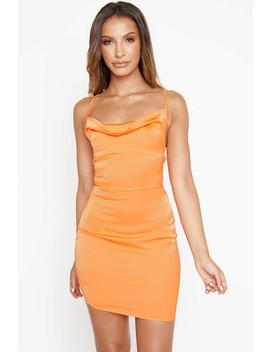 Orange Satin Cowl Tie Dress by Luxe To Kill