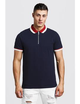 zip-polo-with-contrast-collar by boohoo
