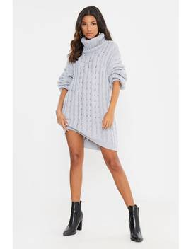 fashion-influx-grey-roll-neck-oversized-jumper-dress by in-the-style