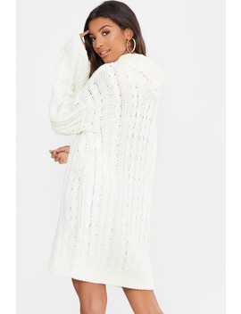fashion-influx-white-roll-neck-oversized-jumper-dress by in-the-style