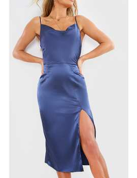 Meggan Grubb Satin Navy Cowl Neck Midi Dress by In The Style