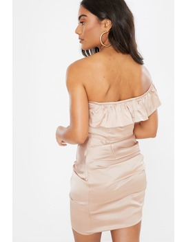 Nude Satin Ruched Bardot Mini Dress by In The Style