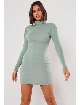 blue-heavy-rib-roll-neck-midi-dress by missguided